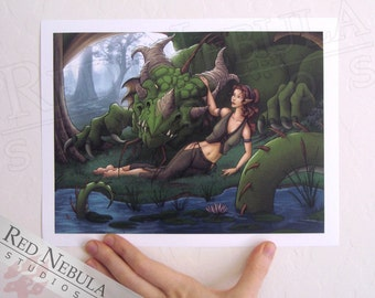 8.5x11 Elf Girl and Green Dragon Art Print, Elven Woman, Forest Dragon Print, Pet Dragon, Friendship, Old Friends, Dragon Wall Art