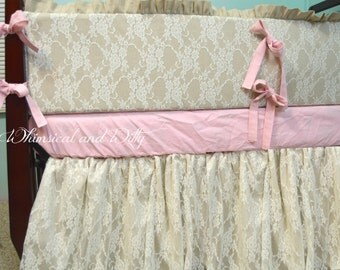 Popular items for ivory crib on etsy for Burlap and lace bedroom