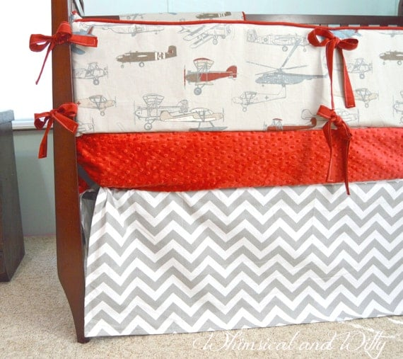 Items similar to airplane baby bedding crib bedding gray red blue white planes and - Airplane crib bedding sets ...