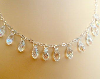 Swarovski Crystal Briolette Necklace on Sterling Silver Chain- Free US Shipping- Item 361