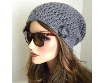 Slouchy Beanie Hat. Winter Hat, Slouchy Beanie, Gray Beanie, Gray Winter Hat, Crocheted Hat, Knit hat