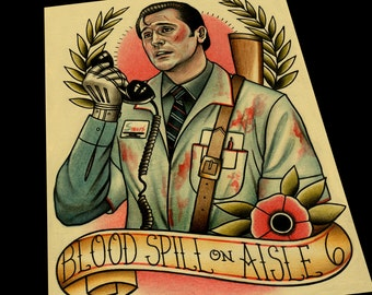 Ash Willaims Evil Dead Tattoo Flash Art Print