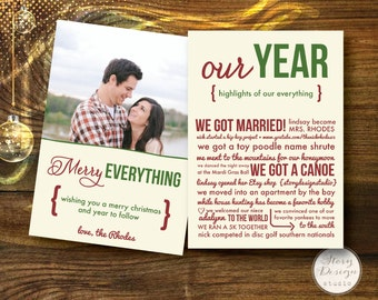 Custom Christmas Card: Merry Everything / Our Year