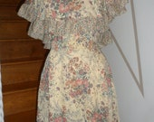 rose flower boho  vintage  1970s gypsy roses   floral ruffle on or off shoulder dress would look great with boots