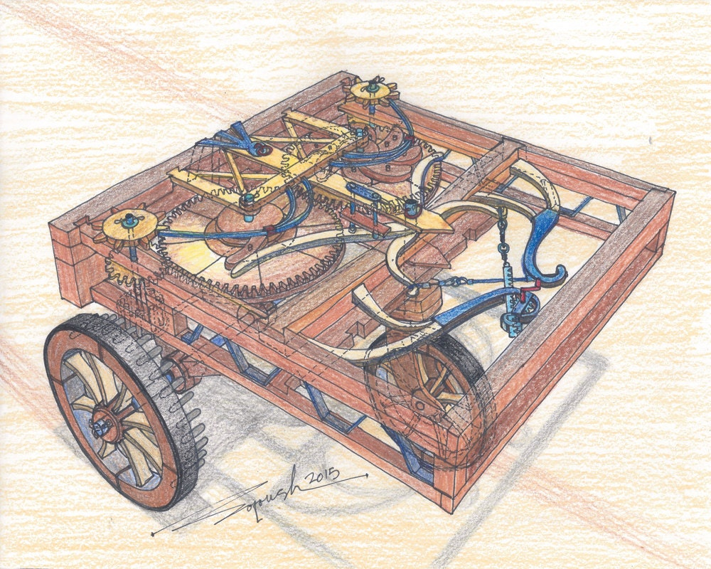 Self Propelled Cart >> 172 1478 Leonardo da Vinci's spring powered car Limited