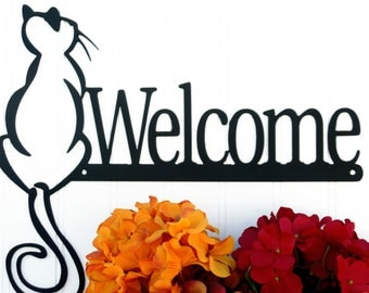 Cat Welcome Metal Sign - Black, 13.75x11.25, Cat, Welcome, Welcome Metal Sign, Door Sign, Door Decoration, Plaque, Sign