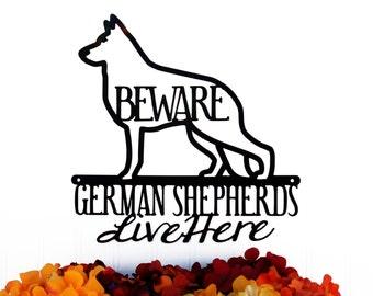 German Shepherds Live Here Metal Sign - Black, 12x12, Metal Sign, Dog Sign, Door Sign, Wall Hanging, Wall Plaque