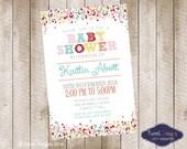 BABY SHOWER Invitation, Printable Baby Shower Invitation, Confetti Baby Shower Invitation, Confetti Red Baby Shower Invitation