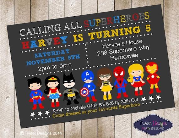 Superhero Boy Invitation Superhero Birthday By