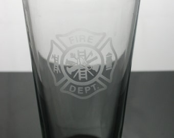 Fire fighter etched pint glasses, fire fighter emblem glass, etched glasses, customized pint glasses, pint glasses, Maltese cross