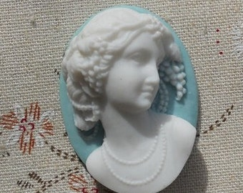 6 pcs of resin cameo 3D  high dome-- 30X40mm-RC0156-2-white on blue