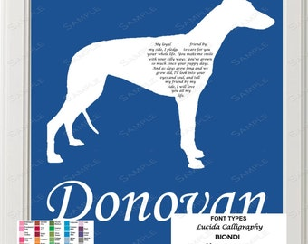 Personalized Greyhound Silhouette Greyhound Art Love Poem 8 X 10 Print Greyhound Dog Gift