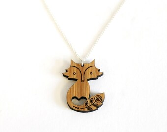 Fox Necklace, Bamboo Necklace, Christmas Gift, Christmas Stocking Present,  Laser Cut by the Owl & Otter