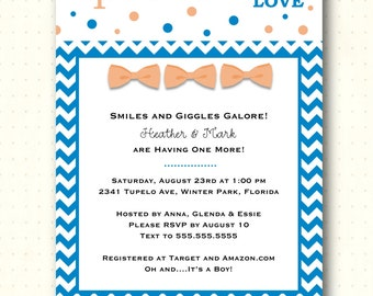 Sprinkle Shower invitation, boy, bow tie, blue, chevron, polka dots, orange, digital printable, invite, B1461