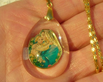 VIRGIN MARY & baby JESUS colorful large acrylic pendant and gold plated snake chain