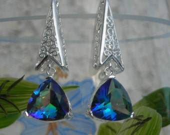 SALE! Long silver plated filigree faceted Swarovski CRYSTAL blue RAINBOW triangular dangle earrings.