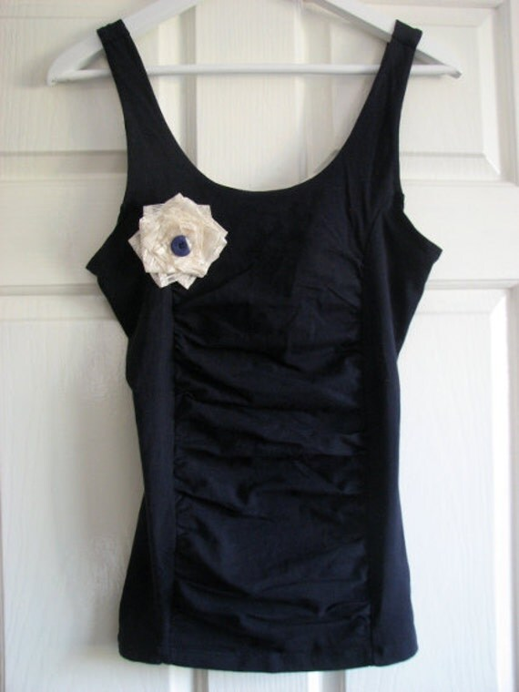 SALE ~ Cream Flower Accessory with Navy Blue Button