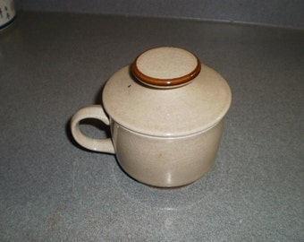 Vintage Hand Painted Glazed Stoneware Coffee Teacup and Lid from Japan