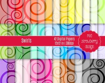 75% OFF Sale - 42 Digital Papers - Swirls - Instant Download - JPG 12x12 (DP223)