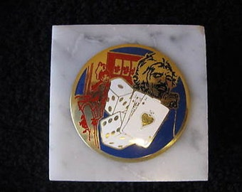 Vintage Marble Las Vegas Paperweight 23rd National Electrical Expo CL24-8