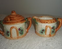 Cottage Chic Creamer and Sugar set, Thatched roof cottage, woodland style china cream and sugar