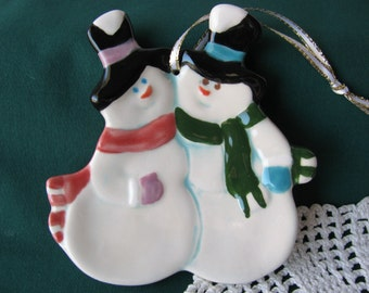 Snow Man and Snow Woman Ceramic Teabag Holder, Spoon Rest or Trinket Dish