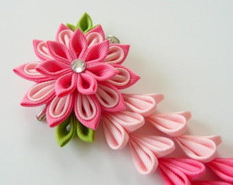 Pink Kanzashi Fabric Flower hair clip with falls. Pink fabric flower. Pink flower hair clip. Pink japanese hair clip.