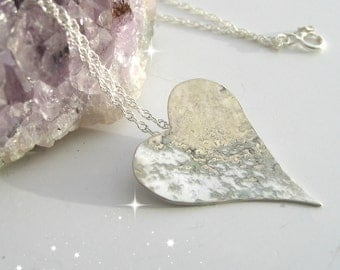Silver Heart Necklace, Silver Heart Pendant, Gift Idea For Her