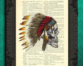 Indian headdress print | indian skull feathers | skull native american art | indian feathers wall decor