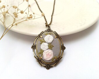 White Camelias hand embroidered pendant necklace