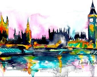 London Reflection Print from Original Watercolor Painting - Lana Moes Art - London Cityscape Illustration - Wanderlust London