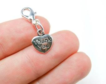 Clip on Charm - Thank You Charm - Bracelet Charm - Key Chain Charm - Add a Charm SCC34