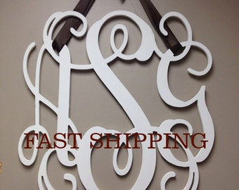 Painted Wooden Monogram, Wall Hanging, Wood Monogram