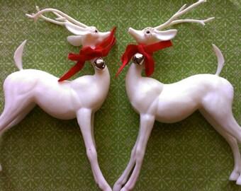 2 White Reindeer Vintage Christmas Large