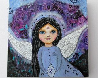 Original Folk Art Painting, Angel Painting, Whimsical Angel Art, Guardian Angel