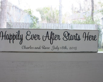 Happily Ever After Starts Here, Wedding Sign, Personalized Wedding Gift, Engagement Gift, Anniversary Gift, Important Date Custom Wood Sign