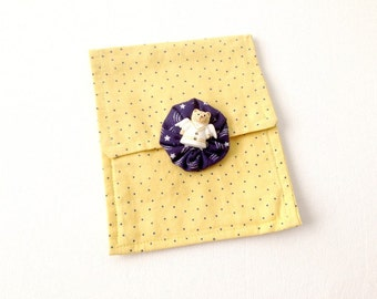 Yellow Mini Purse, Cosmetic Bag, Hand Made Purse, Yellow Bag, Navy polka dots, Cat angel button