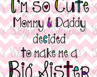 Big Sister Iron on Transfer Pregnancy Announcement Sibiling Shirt Iron On Transfer Baby Girl - I'm going to be a big sister