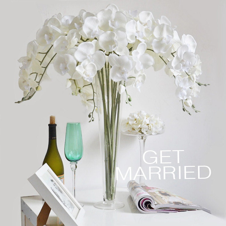 Orchid Flower Arrangements For Weddings: 5 Pcs Cream White Silk Orchids UK Customized Butterfly