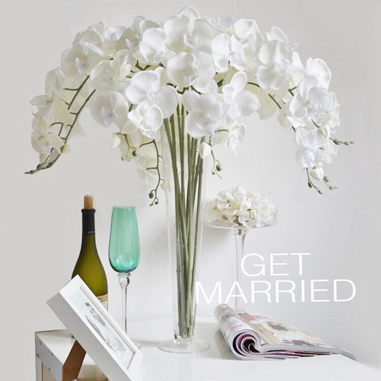 Wedding Flower Arrangements Orchid : Pcs cream white silk orchids uk customized butterfly