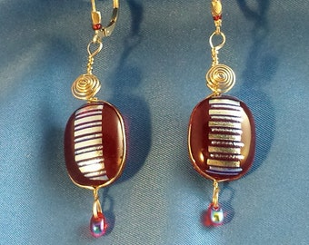 Fused red & silver dichro sterling wire-wrapped earrings