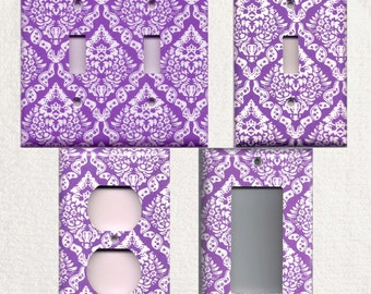 Bright Purple & White Intricate Damask Light Switch Plates and Wall Outlet Covers Elegant Home Decor Accents