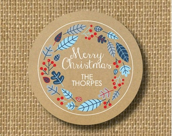 Personalized christmas gift sticker, personalized Christmas card sticker, Christmas gift tag, baked goods label, Christmas present sticker