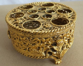 Vintage Gold Color Filigree Lipstick Caddie by Style Built