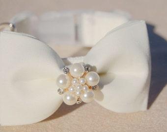 Cute Bow tie dog collar,wedding dog collar.Birthday party dog collar.Moderndog wedding collar.Ivory pet collar, Birthday gift for dog