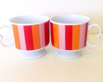 Vintage Danish modern orange pink stripe mug set