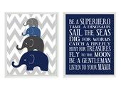 Elephant Nursery Art, Boy Rules Print, Elephant Family Print, Baby Boy Nursery, Navy Blue Gray, Chevron Print, Boy Room Decor, Baby Shower