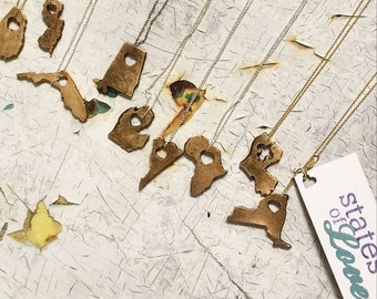 State Necklace Handmade Bronze States of Love necklace