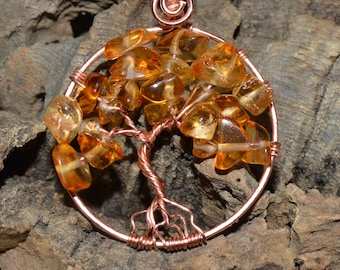 Copper and orange glass tree of life pendant with suede necklace