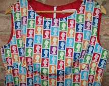 Size 16 Retro 60's Style Dress with Postage Stamps